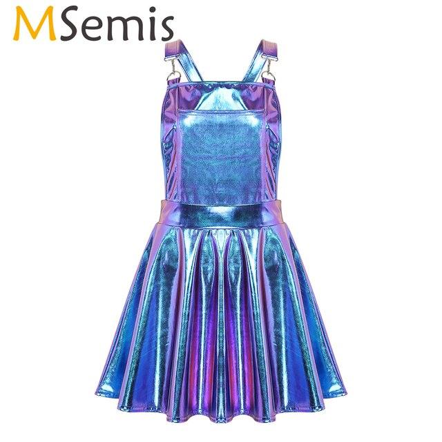 Robe holographique métallique métallique pour femmes, tenue de Festival, tenue brillante, boîte de nuit, danse de chanteur, à bretelles