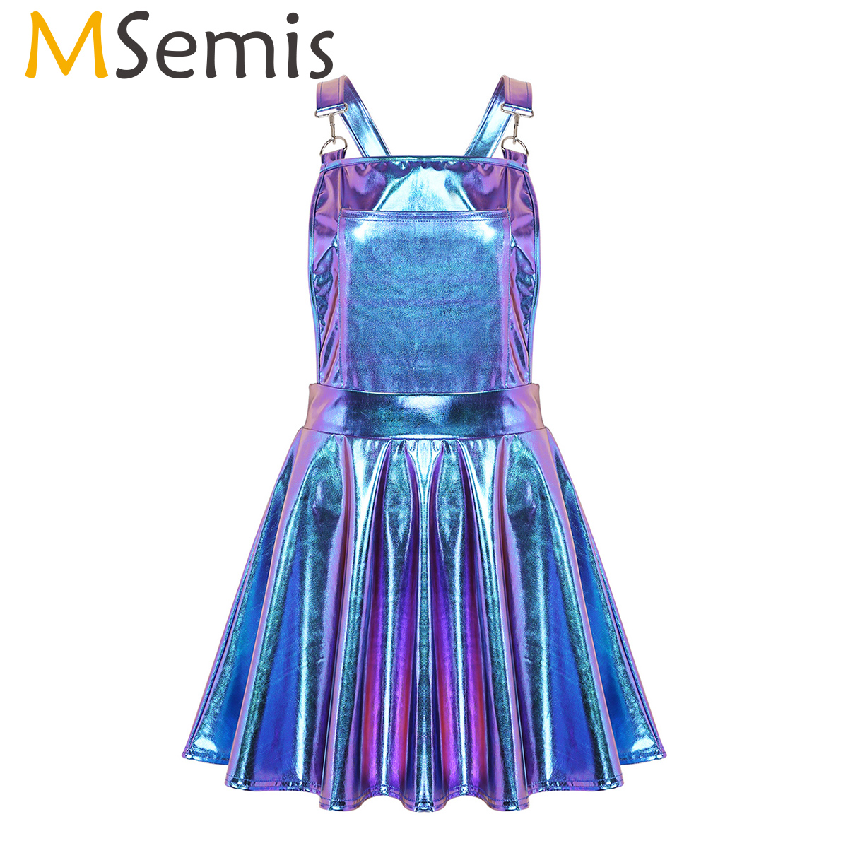 Women Shiny Metallic Holographic Dress Rave Festival Clothes Costumes Night Club Singer Dancewear Braces Mini Suspender Dresses