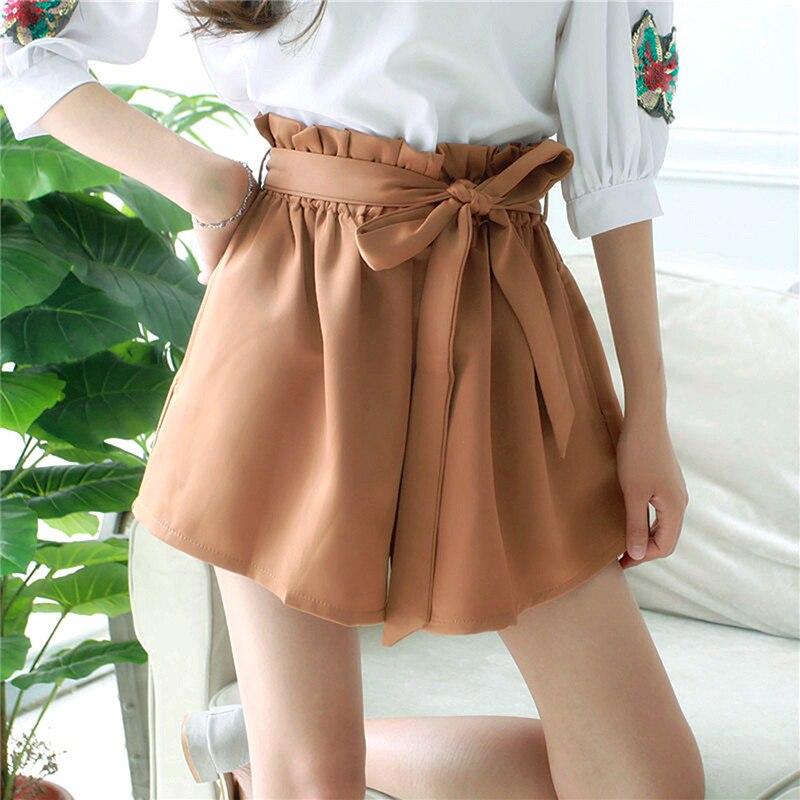 Женские шорты с высокой талией, сексуальные, с поясом, пляжные, летние, свободные, эластичный пояс, уличная одежда, широкие шорты