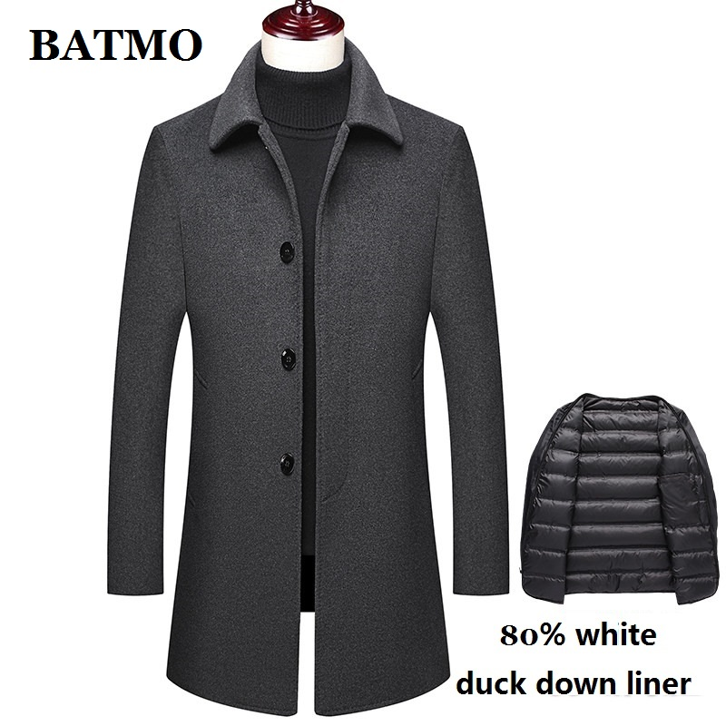 BATMO new arrival winter 80% white duck down liner thicked wool trench coat men,men's wool jackets,men's wool warm coat M72002