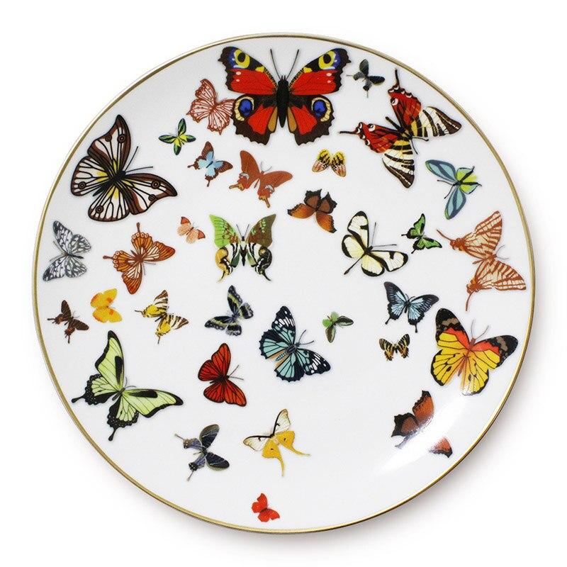 Plateau en céramique Steak assiette | Plat plat à bord en or vaisselle papillon blanc pur vaisselle assiette à gâteau, os de la maison assiette en porcelaine - 2