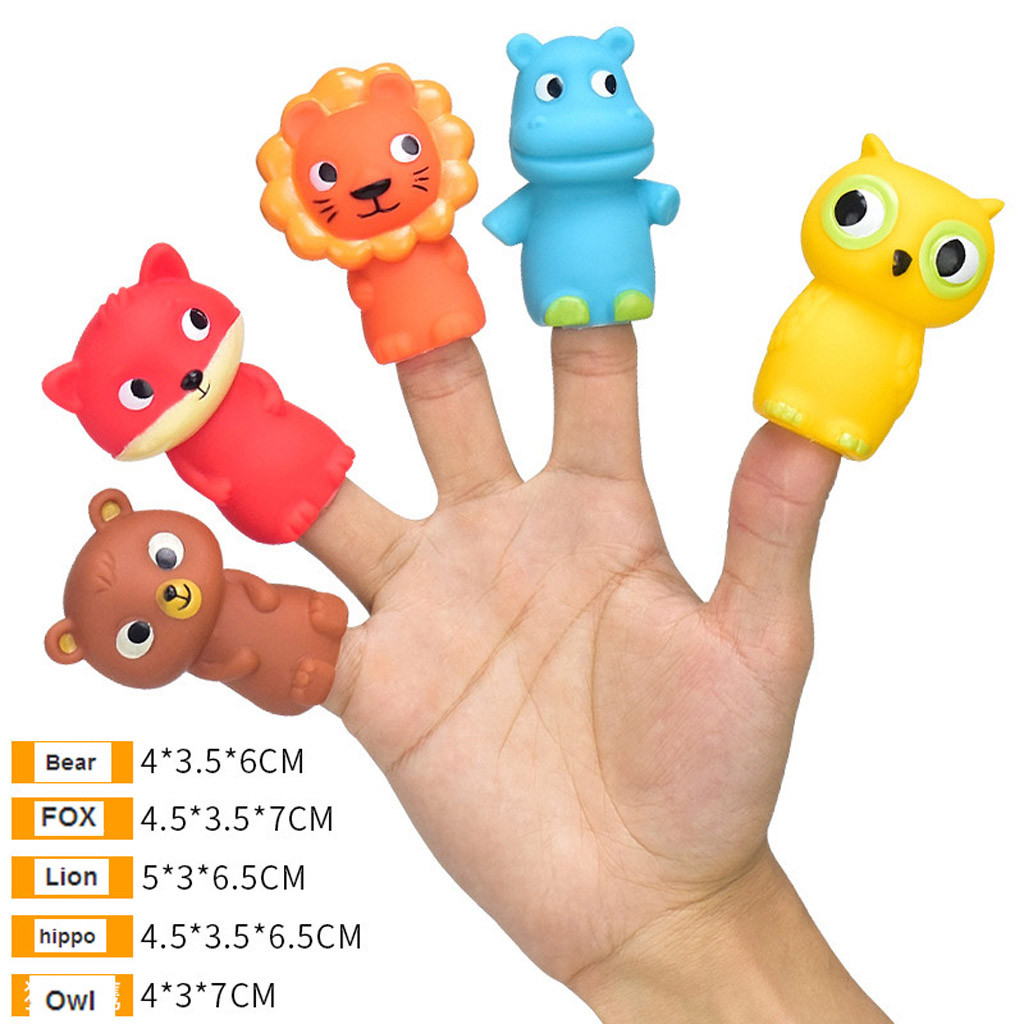 PROLOSO 15 Pcs Animal Bath Finger Puppets for Toddlers Kids Party Favors Stocking Stuffers Goodie Bag Fillers School Class Prizes