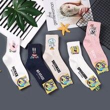 Anime Squidward Tentacles print socks Patrick Star Sandy Cheeks cute fun cartoon women cotton sock spring summer soft comfort