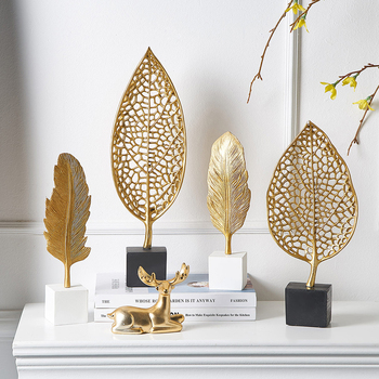 Europen Leaf Model sculpture resin craft vintage home decor Modern Vintage Abstract Statue Office Desk Decoration Ornaments Gift 1