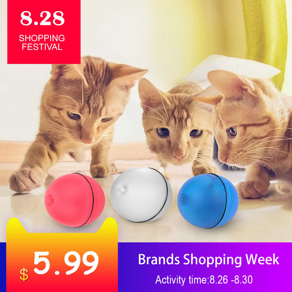 Cat Toy Rolling Ball Dog toys LED Red Light Motion Activated Ball Pet Cat Interactive Laser Rolling Ball Electric Funny Toy