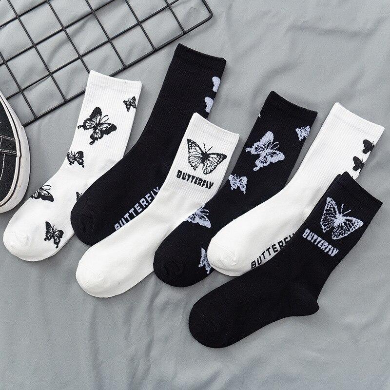 3 пары в упаковке, женские носки, Новое поступление, черно-белые носки с бабочками в Западном уличном стиле, милые красивые носки из чистого х...
