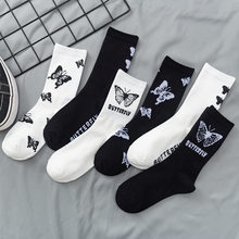 3 pares lote pacote feminino meias nova chegada borboleta preto branco ocidental estilo rua bonito feliz bonito puro algodão meias