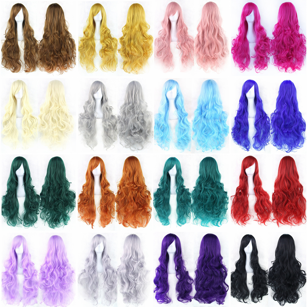 Soowee 20 Colors 80cm Long Curly Women's Green Black Hair Cosplay Wig Hairpiece Synthetic Hair Party Hair Accessories Wigs