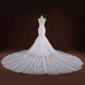 Image 2 - Mermaid Lace Appliques งานแต่งงานชุดยาวรถไฟ Beading เจ้าสาว Robe de mariee ชุดแต่งงาน vestido de noiva YY105