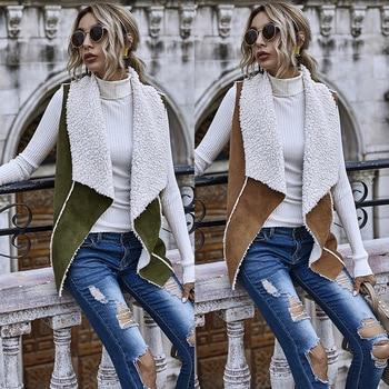 Winter Vest Women Suede Warm Fleece Turn-down Collar Vest Jackets Sleeveless Slim Tops Outerwear Coat Waistcoat colete feminino