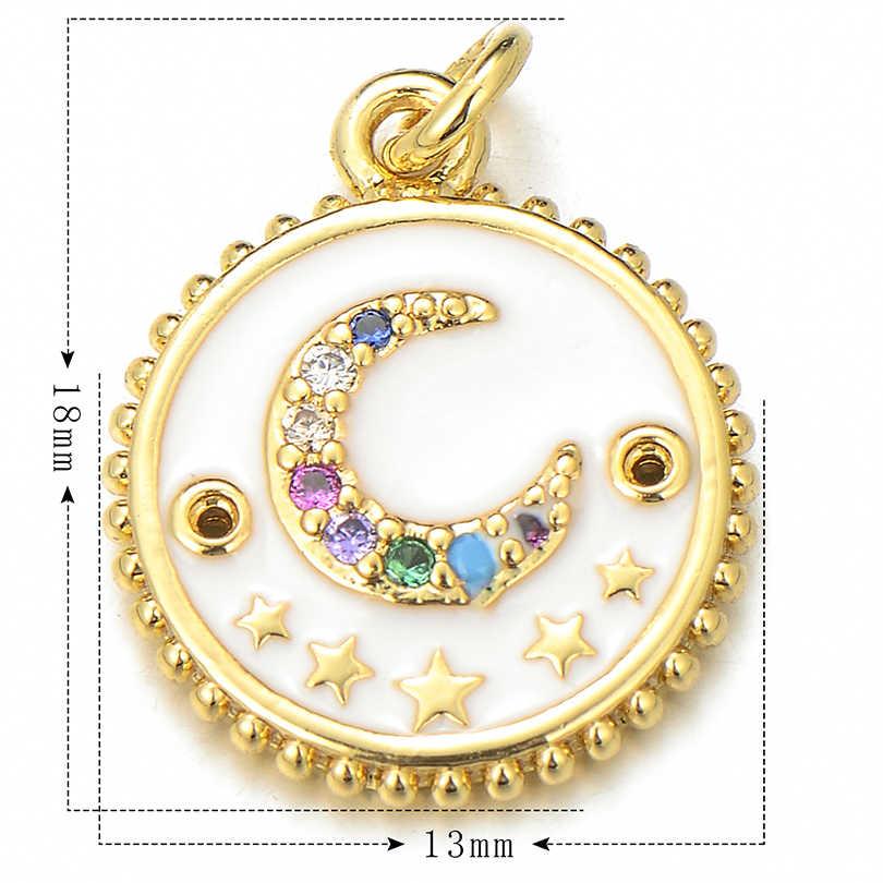 Pipitree Cubic Zirconia Mặt Trăng Sao Quyến Rũ Phù Hợp Với Mặt Dây Chuyền Vòng Tay Vàng Đồng Màu Men Đỏ Vòng Charm DIY Phụ Kiện Trang Sức