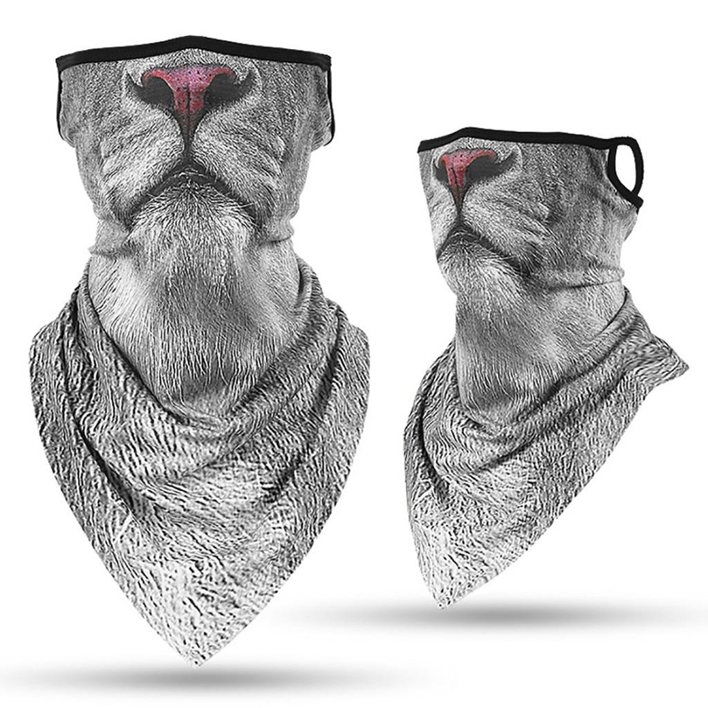 4 Pieces Ear Loop Bandanas 3D Animal Print Neck Gaiter Balaclava Triangle Face Neck Scarf