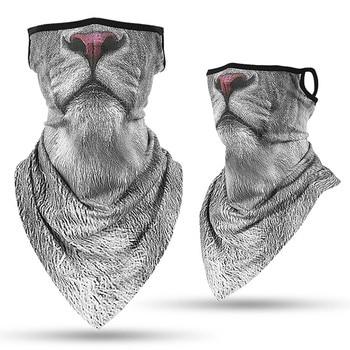 Imprimare 3D cu animale unisex drumeții eșarfe pălării urechi cârlig față eșarfă bandă bandă pentru femei și bărbați
