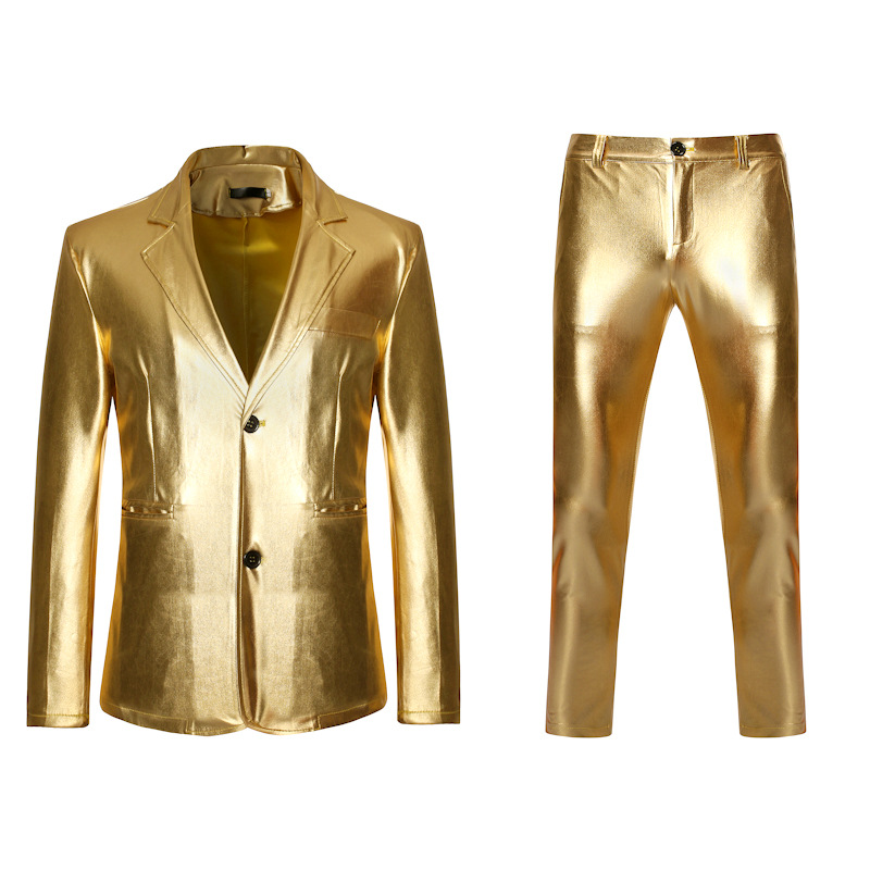 Men's 2 Pieces Gold Coated Metallic Suits With Pants Black Slim Fit DJ Club Party Stage Wedding Dress Suit Men Terno Masculino