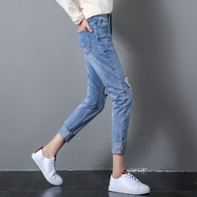 Photo Shoot ECE Straight-Cut Jeans Women's Spring Online Celebrity High-waisted Dad With Holes Capri Harem Pants