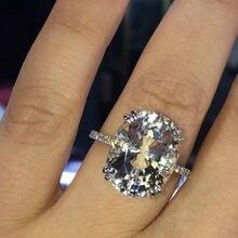 Женские кольца серебряного цвета с большим овальным цирконием