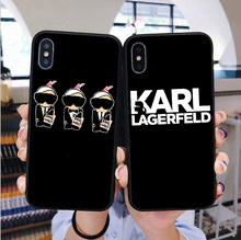 Karl Lagerfeld TPU Soft Black Silicone Case Telefone Para Coque iphone 7 7Plus 6 6s 8 8Plus casos 5S SE Capa Para iphone X XS Max XR(China)