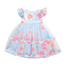 6M-5Y Flower Infant Toddler Baby Kid Girl Tulle Tutu Dress Lace Party Wedding Birthday Princess Puff Sleeve Layered Dress(China)