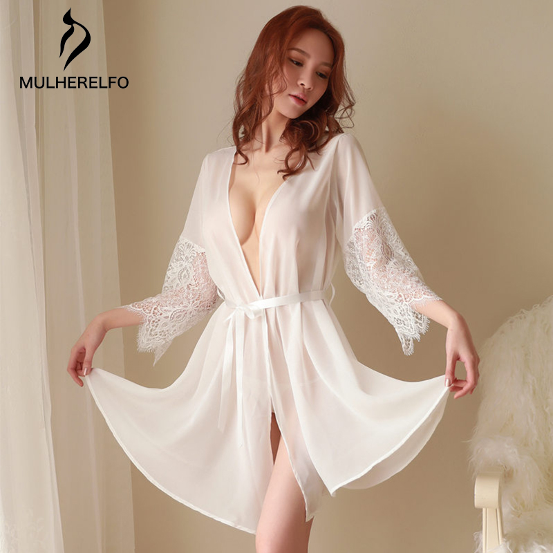 Fashion Sexy Temptation Dressing Gowns For Women White V-neck Perspective Lace Sash Sexy Sleepwear Autumn Feminine Nightwear