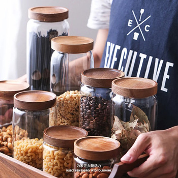 Wood Lid Glass Airtight Canister Kitchen Storage Bottles Jars Food Container Grains Tea Coffee Beans Grains Candy Jar Containers 5