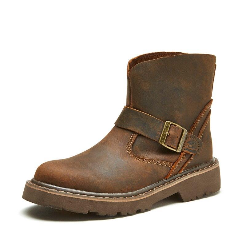 Новые брендовые весенние мужские рабочие ботинки в стиле ретро; кожаные ботильоны в западном стиле; высококачественные слипоны; уличные Бо...