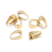 10pcs Large Gold Plated Stainless Steel 9*19mm Clasps Pinch Clips Bail Connectors For DIY Jewelry Findings Making Top Quality