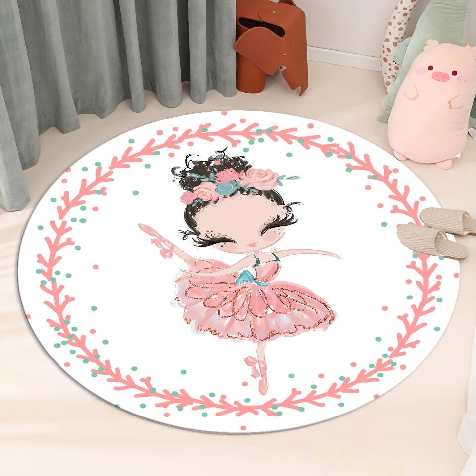 Cartoon Ballet Girl White Round Floor Mat Soft Flannel Sponge Children's Rug For Room Baby Play Mat Girl Room Rug Bedside Mat