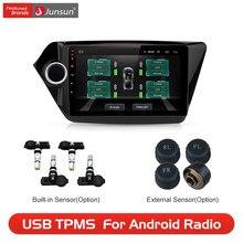 Junsun USB مراقبة ضغط الإطارات نظام إنذار TPMS مع 4 أجهزة الاستشعار الداخلية ل Junsun أندرويد سيارة مشغل ديفيدي الملاحة