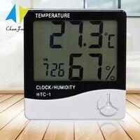 Chanfong Lcd Elektronische Digitale Temperatuur Vochtigheid Meter HTC-1 Thuis Indoor Hygrometer Thermometer Weerstation Met Klok