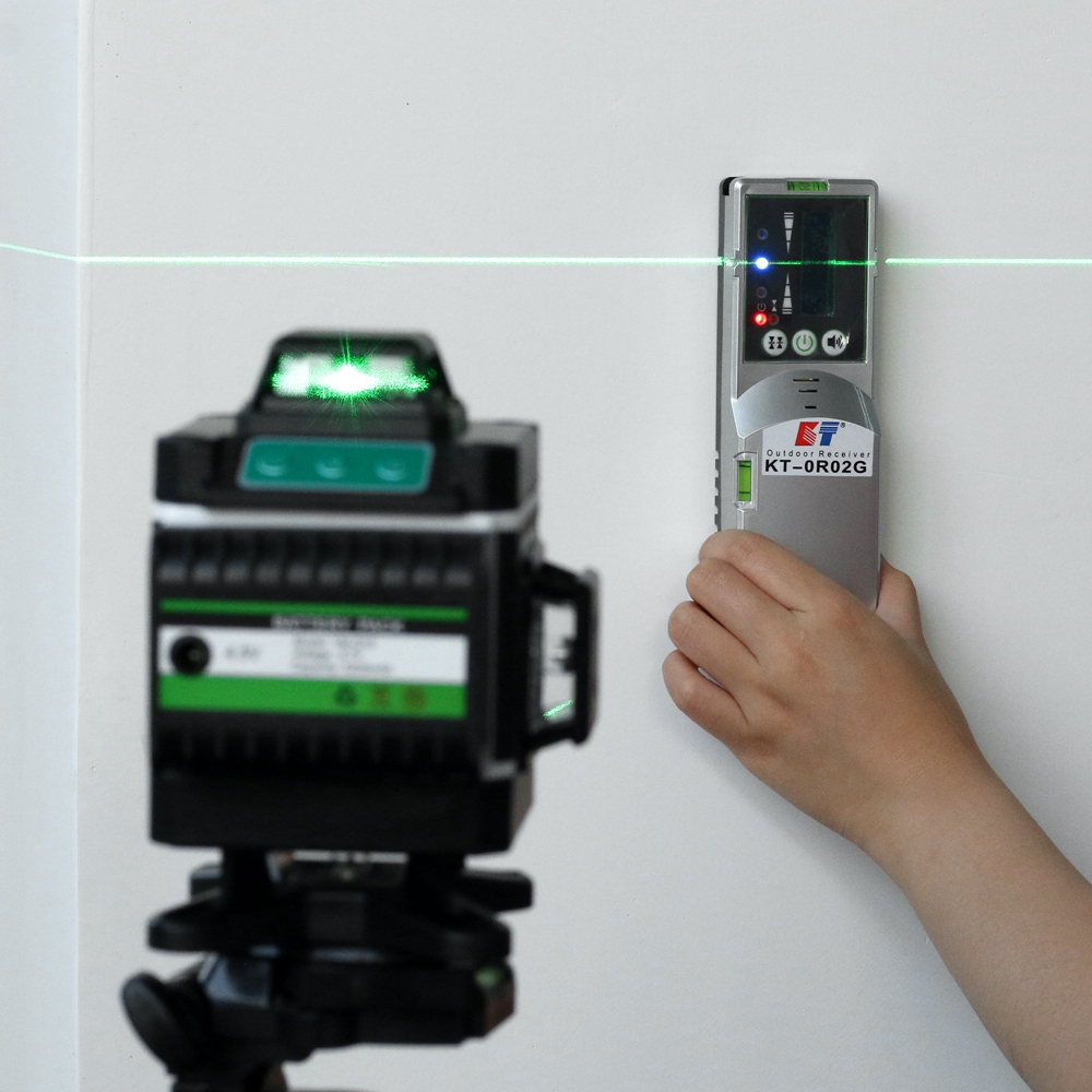 Tools : Kaitian Laser Level Tripod Green 4D 16Lines Self-Leveling Vertical Horizontal Powerful 360 Bracket Green 3D Nivel Laser Receiver
