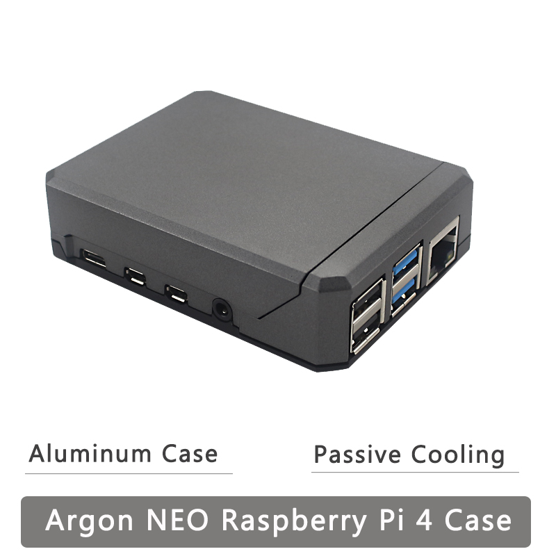 Argon NEO Raspberry Pi 4 Model B Case Aluminum Alloy Shell Sliding Magnetic Cover GPIO Reference Passive Cooling  Slim Case