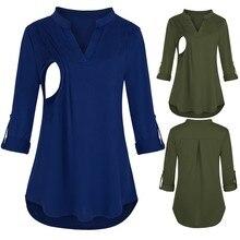 Женская одежда с длинным рукавом для беременных, топы в полоску с v-образным вырезом для кормящих, блузка для грудного вскармливания, однотонная Одежда для беременных