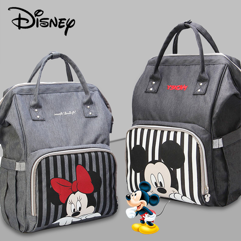 Disney Mickey Minnie Diaper Bag USB Waterproof Maternity/Nappy Bags Free Hook For Stroller Bag Large Capacity Mochila Backpacks
