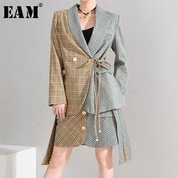 Женский костюм EAM, свободный костюм из двух предметов, с отворотом, длинным рукавом, цвета хаки, на весну-осень 2020, 1H69404