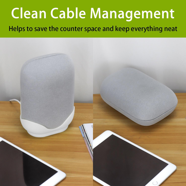 Wall Mount / Bracket for Google Nest Audio Speaker - Built in Cord Management Stable Stand Smart Speaker Holder Accessories 4