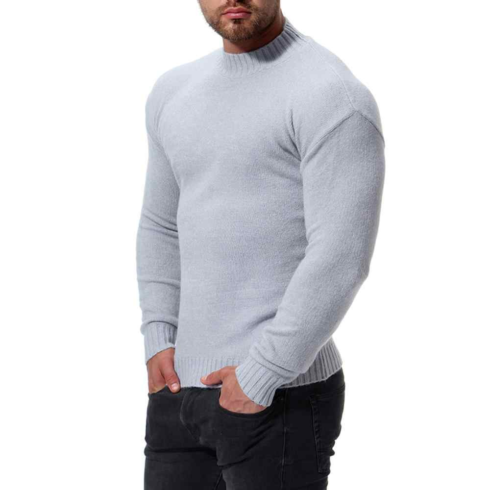 Spring and Autumn 2020 Solid  Cotton Men Pullover Sweater