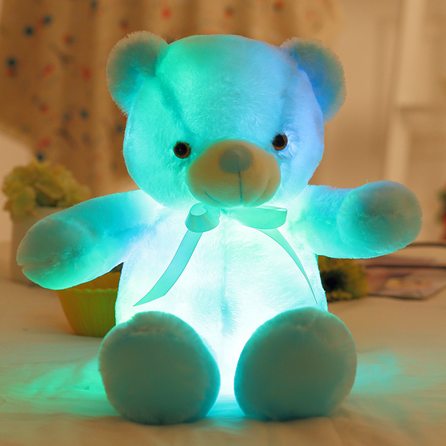1Pcs Toys for Children Plush Bear Toy Tool Soft Present Birthday Gift Light Up LED Stuffed Animals Plush Toy Colorful Glowing