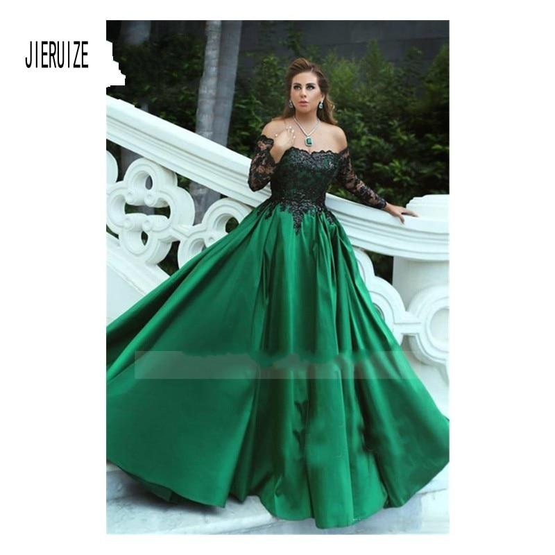 JIERUIZE Vintage Green Ball Gown Wedding Gown Off Shoulder Black Lace Appliques Princess Bridal Gowns Long Sleeve Robe De Mariee