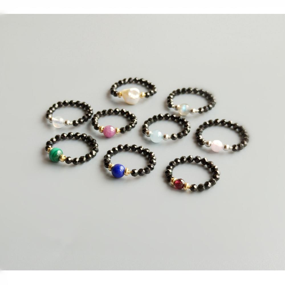 Lii Ji Fashion Ring Genuine Stone Black Spinel Labradorite Lapi Lazuli Ruby Moonstone Aquamarine Garnet Pearl 925 Sterling Silver Handmade Ring For Women Jewelry