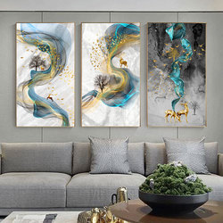 Abstract Golden Deer Paintings on The Wall Pictures Modern Canvas Painting Blue Poster Print Wall Art for Living Room Bedroom