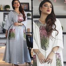 AB053 Dress To The Floor Grey White Abaya Woman Muslim Sets Sequins Loose Fat Plus Size Female Accessories Ramadan Kaftan Islam