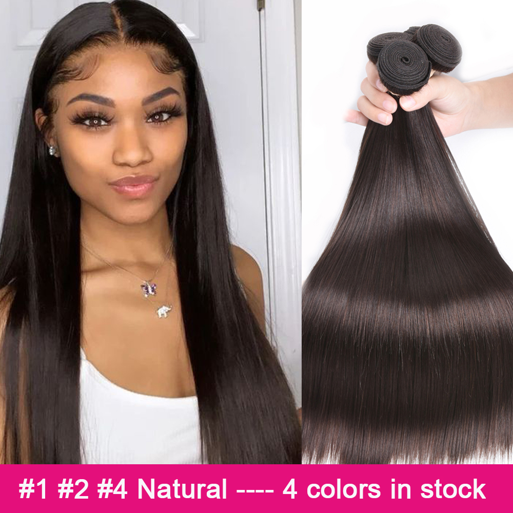 BEAUDIVA #1 #2 #4 doğal renk düz Remy brezilyalı saç örgü demetleri 3/4 adet insan saçı postiş 95Gram ücretsiz kargo