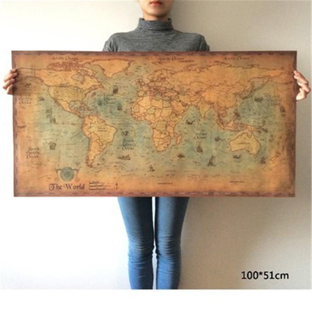 Poster Painting-Supplement Paper World-Map Nautical Portugal Wall-Art Home-Decoration