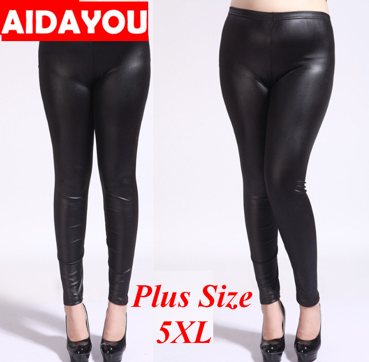 Womens Plus Size Leggings 5XL Super Elastic Big Size PU Leather Legging Pantalons Mujer Femme Ouc591