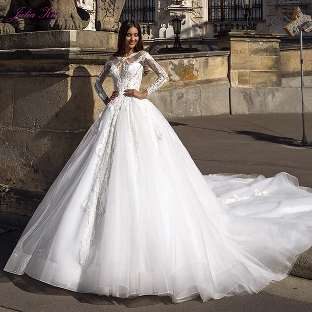 Julia Kui Gorgeous Tulle A line Wedding Dress With Full Sleeve Wedding Gown Royal Train