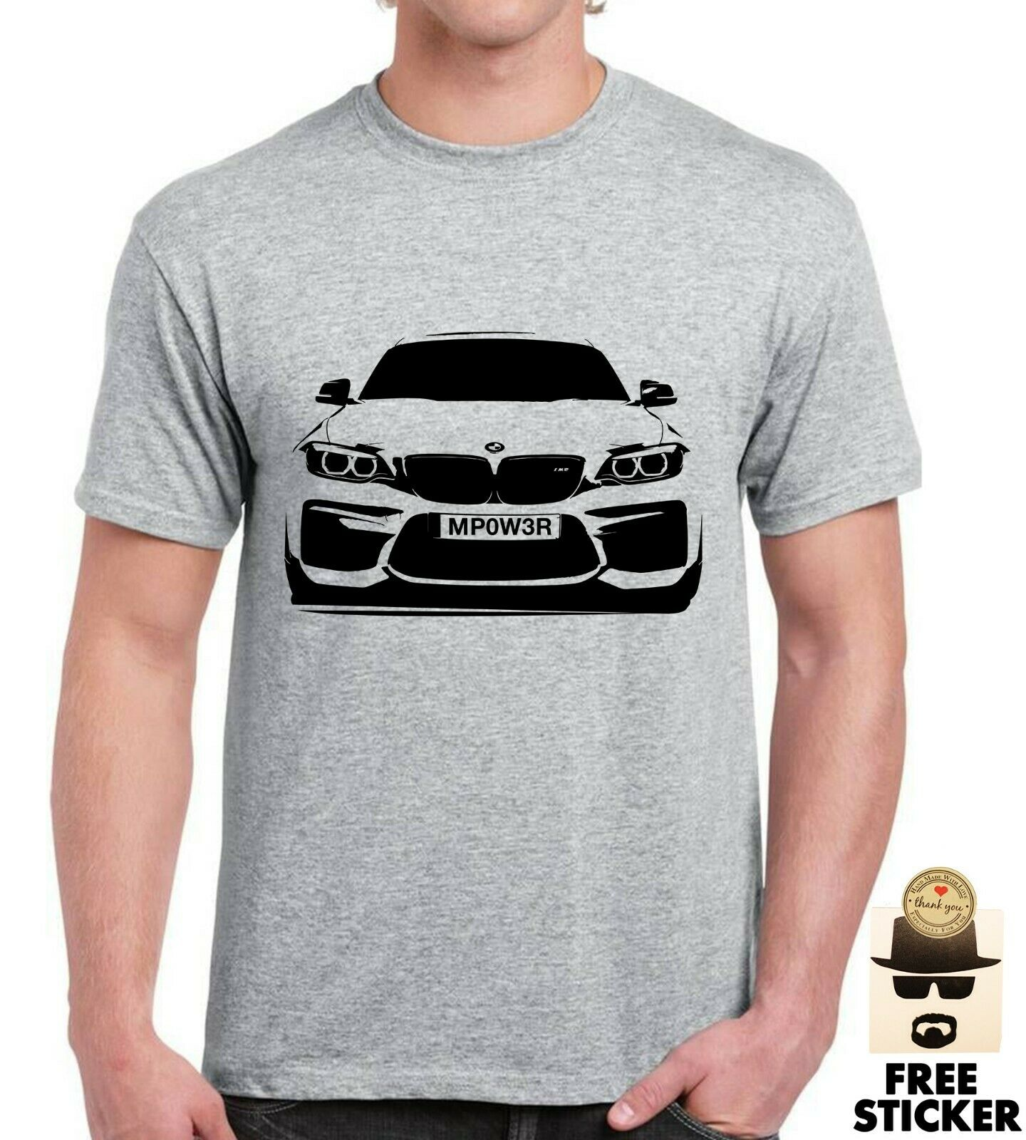 BMW M Power CUSTOM Plate T Shirt Personalised Car Mpower Motor Top Size Upto 3XL