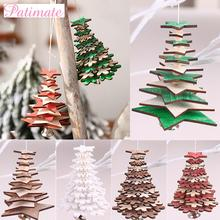 PATIMATE Wooden Christmas Tree Pendant Decoration Merry Decorations For Home 2019 Navidad New Year 2020