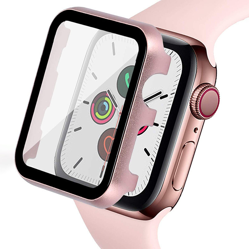 Metal Shell For Apple Watch 44mm 40mm Protector With Screen Protective Film Iwatch 42mm 38mm Series 5 4 3 2 1 HD Transparent