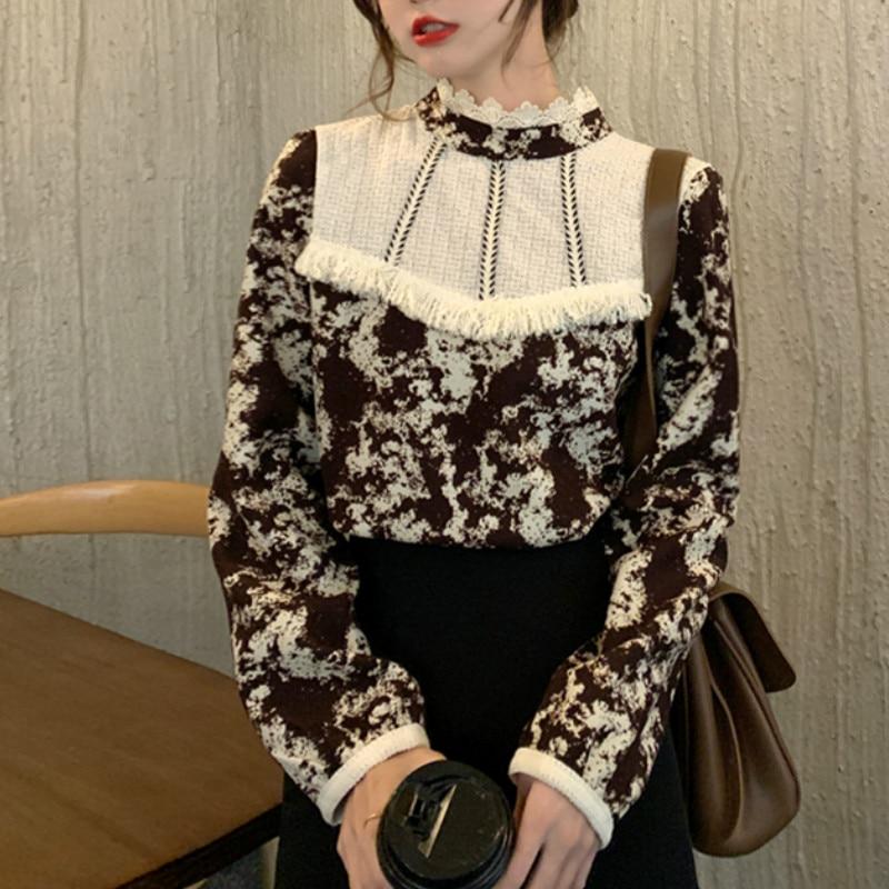 Ezgaga Floral Printed Women Shirts French Style Lace Patchwork Tassel Vintage Tender Long Sleeve Elegant Blouse Ladies Blusas 7