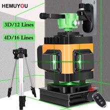 HEMUYOU Laser Ebene 12/16 Linien 3D/4D Selbst Nivellierung 360 Horizontale Grün Laser Strahl Linie Horizontale Vertikale Kreuz linien Drinnen